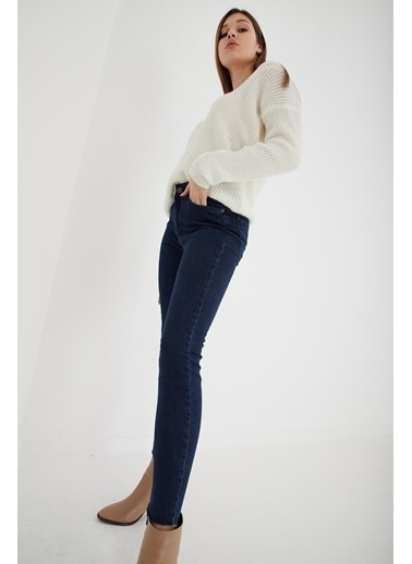 Modaset Yüksel Bel Skinny Fit Jean Pantolon Lacivert Mavi